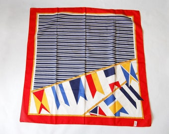 Vintage 1980s Nautical Rope and Flags Print Scarf / Red White Blue Striped Square Scarf