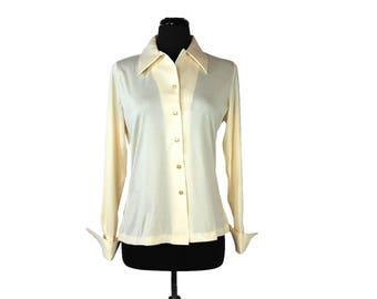 Vintage 1970s Beeline Fashions Ivory Big Collar Polyester Blouse with Cuffs (Size 36)