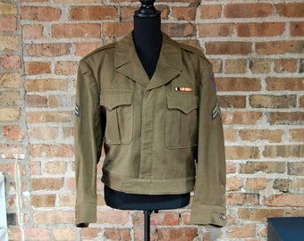 Vintage 1940s Military Jacket w/ Bullion Patch / Salzburg, Austria Corporal Bomber Coat / Khaki Green / Post WWII Occupation Jacket