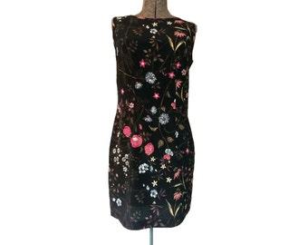Vintage 1990s Joni Blair Sleeveless Black Floral Mini Dress (8)