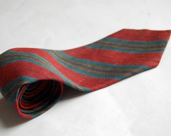 Vintage 1980s Ermenegildo Zegna Linen Flax / Silk Diagonal Striped Necktie / Red, Navy, Teal Blue, Gray