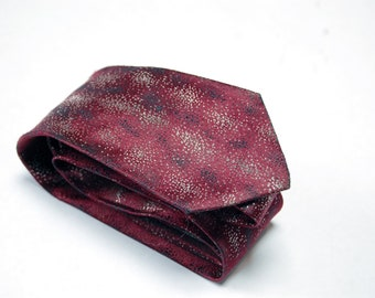 Vintage Charvet et Fils Burgundy Wine Red Tie w/ Silver & Black Shiny Accents / Holiday Necktie