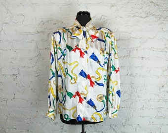 Vintage 1980s Evan Picone Ribbon and Tassle Print Blouse with Secretary Tie / Pussy Bow / Tie Neck