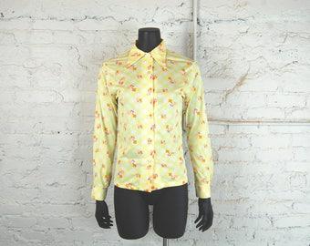Vintage 1970s Silky Polyester Flower Print Blouse / Yellow / Orange / Purple / White
