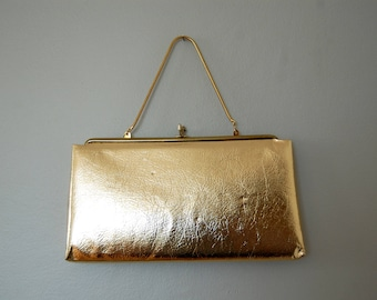 Vintage 1960s Metallic Gold Handbag / Clutch / with Snake Chain and Black Interior Lining / Evening Bag