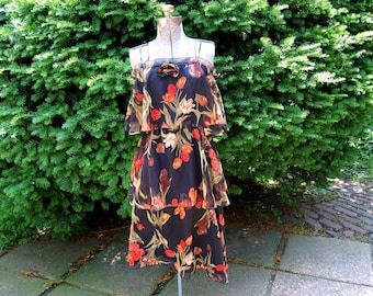 Vintage 1970s Sheer Layered / Tiered Floral Midi Dress w/ Cinched Bust / Black, Red, Orange, Brown, Green Floral Print