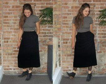 Vintage 1980s David Brooks Black Velvet Midi Skirt / Retro Calf Length Skirt