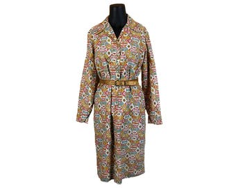Vintage 1960s Glenbrooke Gray / Brown / Red Floral Abstract Shirt Dress (Size 14)