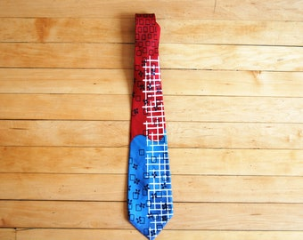 Vintage 1980s Red White Blue Abstract Arrow Tie / Squares, Floral and Criss Cross Necktie