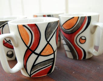 Vintage 1990s Ceramic Mugs / Burnt Sienna Red, Apricot Orange, Gray and Black Abstract Design on Natural (Set of 4)