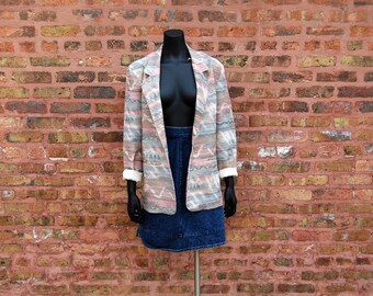 Vintage 1980s I & R Illusions Muted Pastel Southwest Blazer / Jacket / Gray, Taupe, Dusty Rose, Ivory, Blue (Medium)