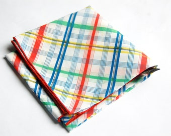 "Vintage 1960s Symphony Scarfs Bold Colored Plaid Scarf (20.5"" Square) / Red, Blue, Green, Yellow"
