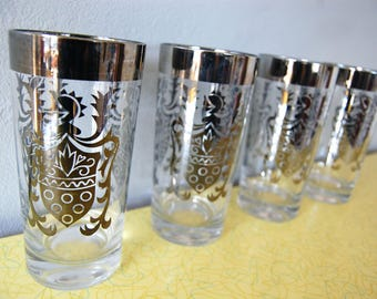 Vintage 1960s Kimiko Silver Guardian Tumblers (set of 4) / Silver Rim / Mad Men Barware / Shield Coat of Arms Motif