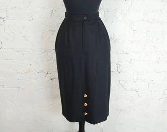Vintage 1980s Carlisle Black Wool and Cashmere Skirt w/ Decorative Gold Metal Buttons (Size 10)
