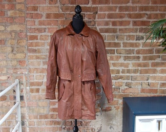 Vintage 1980s Brown Leather Adventure Bound Coat / Removable Lining / Medium Length Jacket / Size L