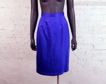 Vintage 1980s Shiny Purple Pencil Midi Skirt (9/10)