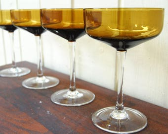 Vintage 1970s Tall Amber Coupes w/ Clear Stem and Base (Set of 4)