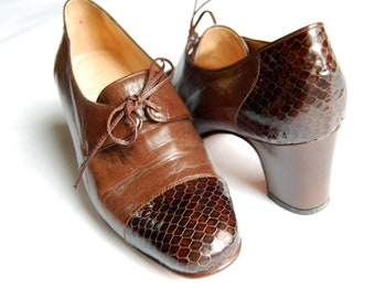 Vintage 1960s Doris Linea Leather Oxford Pumps / Italian Brown Leather with Snakeskin Embellishments / Size UK 36 / US 6