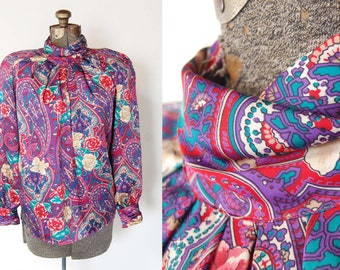 Vintage 1980s Worthington Polyester High Collar Pleated Vibrant Floral and Paisley Print Blouse