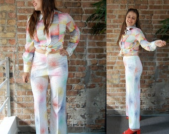 Vintage 1960s Anjac Colorful Speckled Checkerboard/Firework Print 2 Piece Outfit / Button Up Shirt and Flared Pants Set