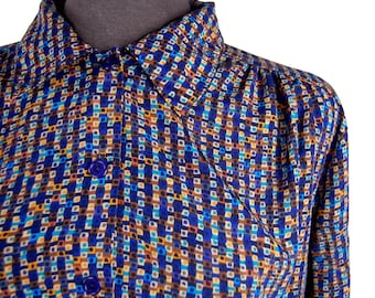 Vintage 1980s Impressions Geometric Print Blouse / Colorful Abstract Checkered Top