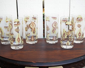 Vintage 1960s MCM Tumblers / Pear Fruit Pale Yellow and Gold / Set of 6