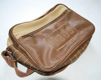 Vintage 1980s Keds Brown Leather & Tan Canvas Small Messenger Bag / Retro Crossbody Bag
