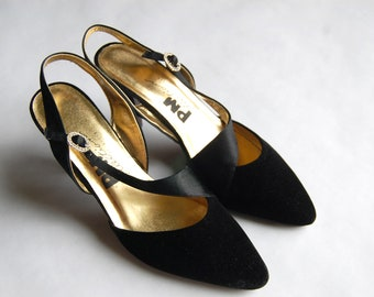 Vintage 1980s PM Collection Black Velvet & Satin Pumps / Rhinestone Accent Buckle / Approx. Size 6.5–7