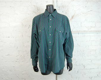 Vintage 1980s Wrangler Blue and Green Striped Western Snap Shirt