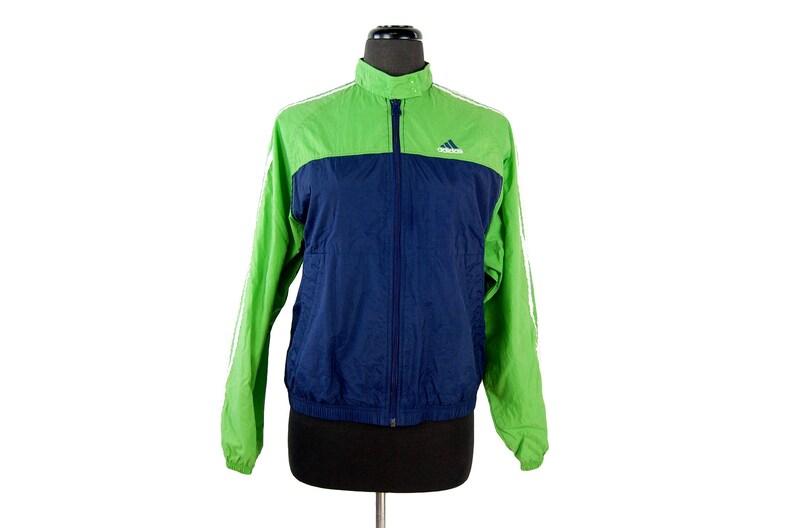 879b37621b2e6 Vintage 1990s Adidas Neon Green and Blue Snap Collar Retro Nylon Track  Jacket / Windbreaker