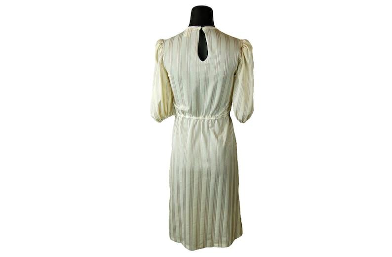 Vintage 1980s Jerri Jee Cream Beige Striped Elastic Waist Overlapping Flap Bodice Midi Dress w Subdued Pink Gray /& Shimmery Stripes Blue