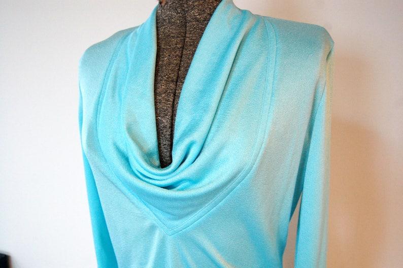 Vintage 1960s Shimmery Aqua Blue Cowl V-Neck Long Sleeve Top w Back Zipper Vintage Size 12