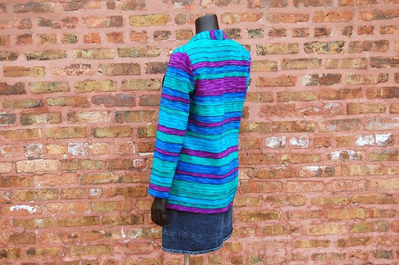 Blue Green Striped Blazer  Jacket Vintage 1980s Michael /& Co Size 8 Purple
