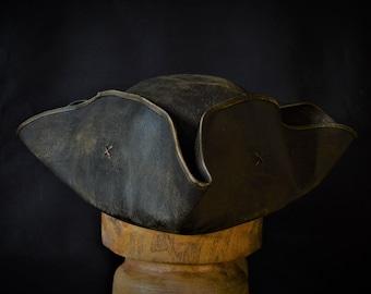 Leather captain jack tricorn hat.