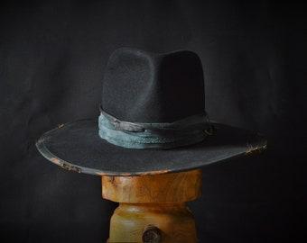 Extra wide brim distressed fur felt fedora hat. The Conspirator.
