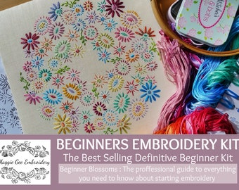 Definitive Beginner Traditional Embroidery Kit 'Beginner Blossoms' *BEST SELLER*; Professional Tuition By Maggie Gee Embroidery