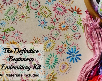 Definitive Beginner Traditional Embroidery Kit 'Beginner Blossoms' (Bright)*NEWBIES START HERE!*; Beautiful Kits By Maggie Gee