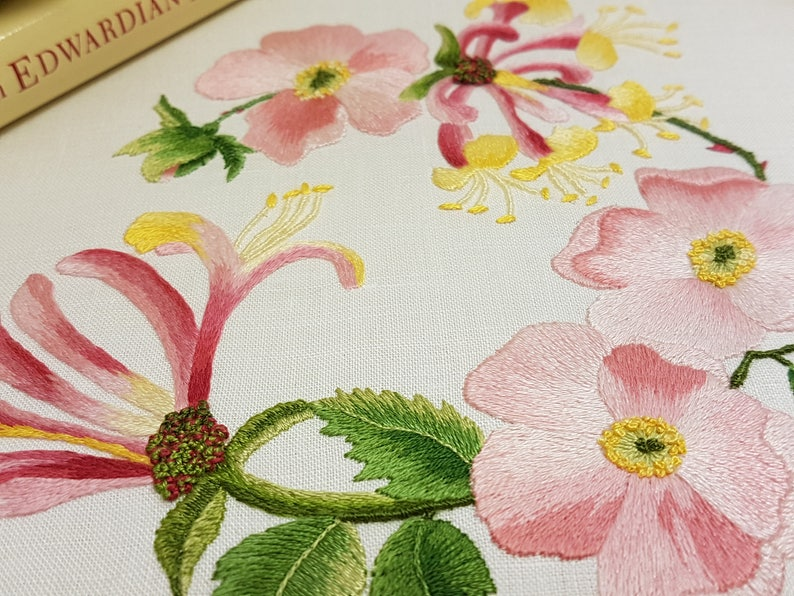 Hedgerow Honeysuckle *A MASTERCLASS IN SHADING* Beautiful Kits By Maggie Gee Embroidery Traditional Transfered Embroidery Kit