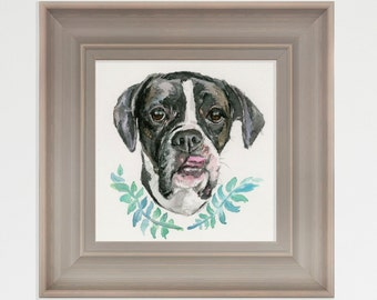 Custom Natural Tone Painted Pet Portrait - Framed Personalized Watercolor Painting - Acrylic, Pen, Ink and Water Color - Dog Cat & Pet Art