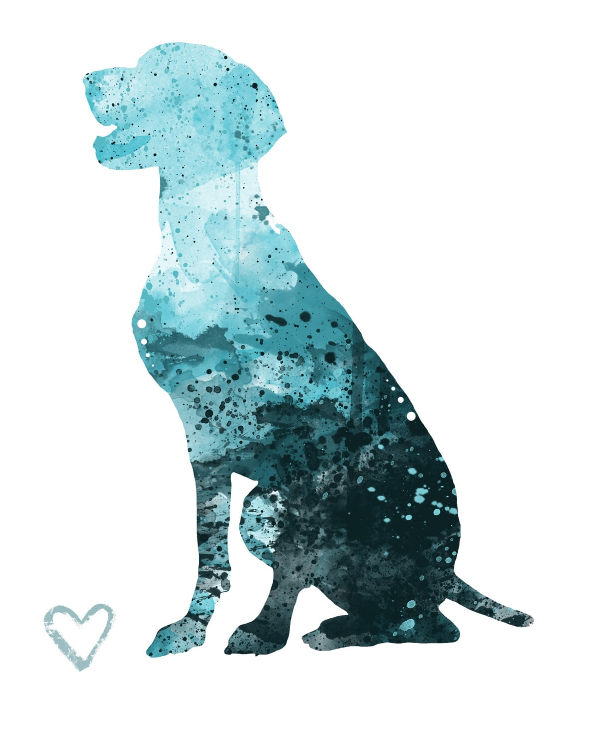 German Shorthaired Pointer Silhouette Watercolor Print | Etsy