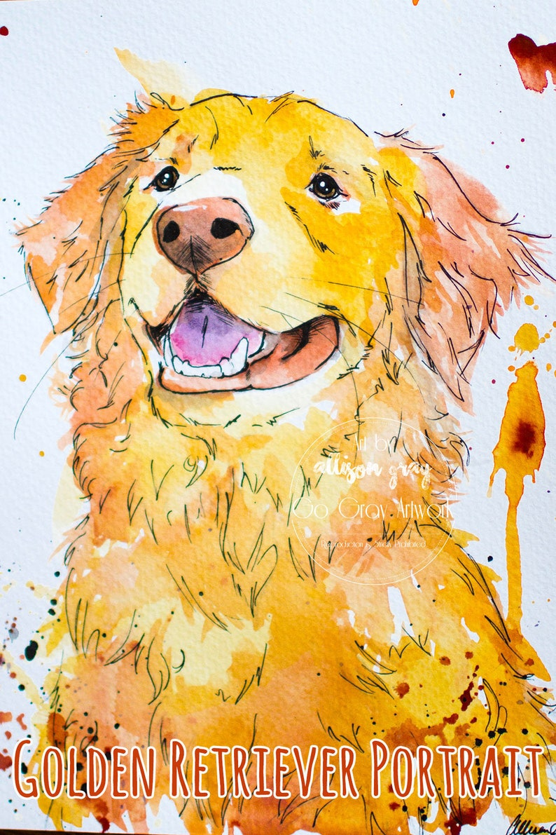 Custom Natural Tone Painted Golden Retriever Portrait - Personalized  Watercolor Painting - Acrylic, Ink and Water Color - Dog Cat & Pet Art
