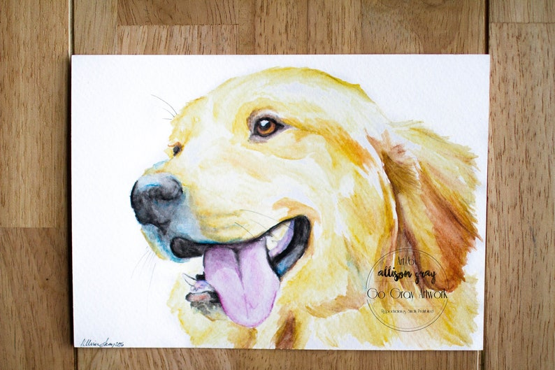Golden Retriever Painted Fine Art Illustration - 5x7 original watercolor  pencil painted dog wall decor - Hanging Artwork for Home or Gift