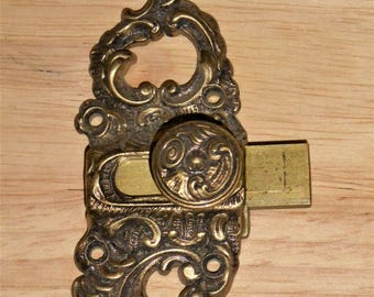 French Brass Cupboard Door Bolt.  Vintage Furniture Hardware