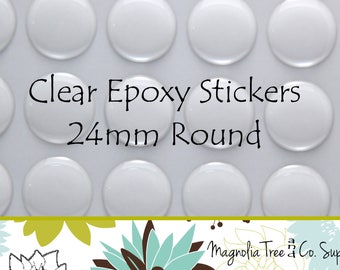 Circle Domes Dots Seals 24mm Round Clear Epoxy Stickers FREE SHIPPING