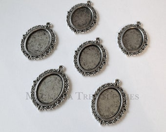 4 x Antique silver decorative cabochon pendant setting fits 20mm
