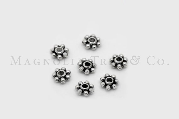 1121spa06s1 Silver Bead Spacer 100ct Shiny Daisy Flower Snowflake Bright 6mm NF