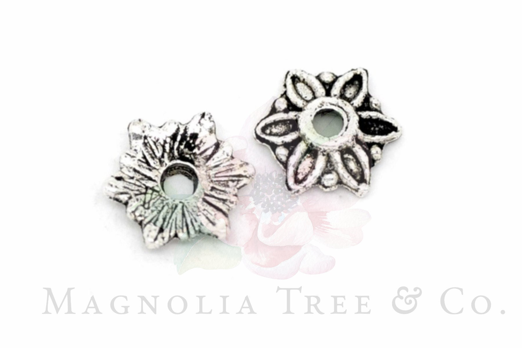 Pcs Findings Crafts Metal Alloy Flower Bead Caps Antique Silver 2 x 8mm  100