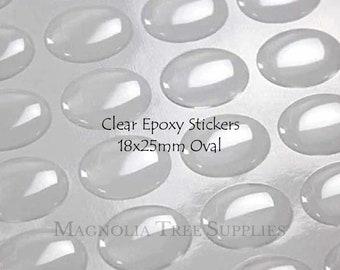18x25mm Oval epoxy stickers, adhesive epoxy domes, resin epoxy sticker, oval seal dots, Resin Seals, YOU choose quantity 10pcs to 100 pcs