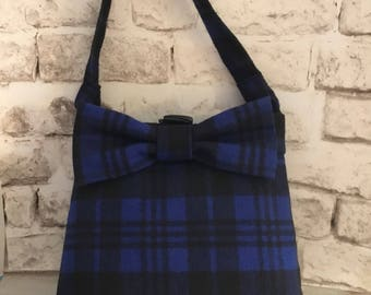 Wool Cobalt Blue and Black Buffalo Plaid Purse