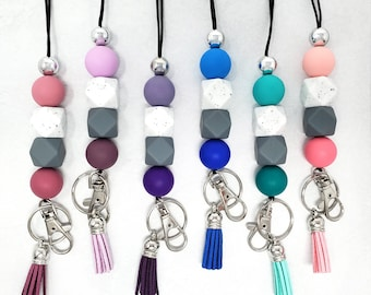 Gray Speckled Badge Holder Breakaway Lanyard Teacher Gift and Ombre Hexagonal and Round Teacher Lanyard Silicone Beaded Lanyard